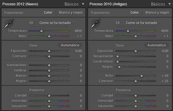 Nuevo Panel Basicos Lightroom 4